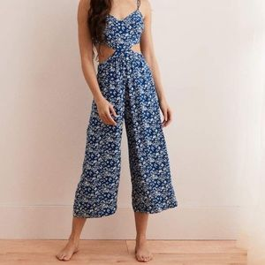 Aerie Blue Paisley Floral Cut Out Wide Leg Cropped Jumpusit M